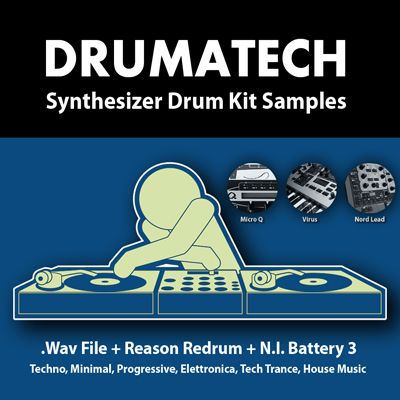 Acid Records Drumatech Synthesizer Drum Kit Samples WAV Battery Reason Refills