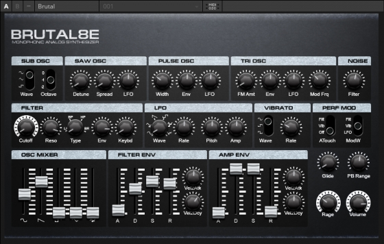 BRUTAL8E v1.0.0 Monophonic Analog Synthesizer for NI Reaktor 6