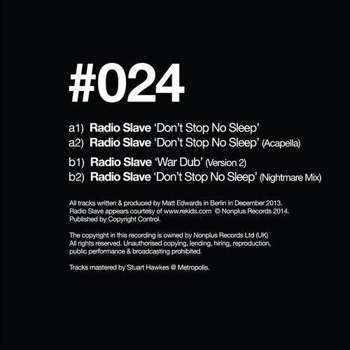 Radio Slave - Don't Stop No Sleep Remixes [NONPLUS033]